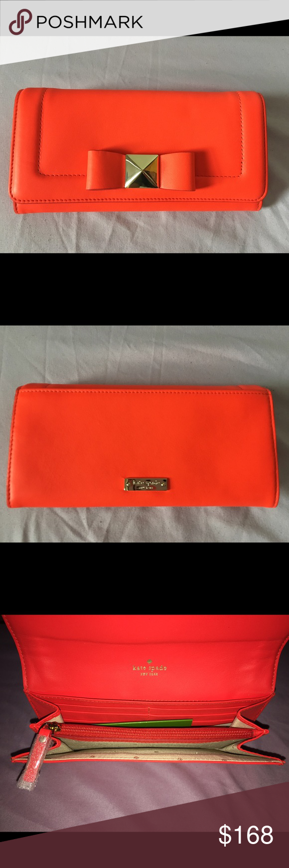 """Kate Spade """"Cindy"""" Bow Terrace Wallet - Maraschino Affixed with a sweet bow and dose of shine (thanks to golden pyramid stud at the center) this smooth leather continental wallet is a chic spot to show your cash, cards, receipts and paper odds-and-ends. kate spade Bags Wallets"""