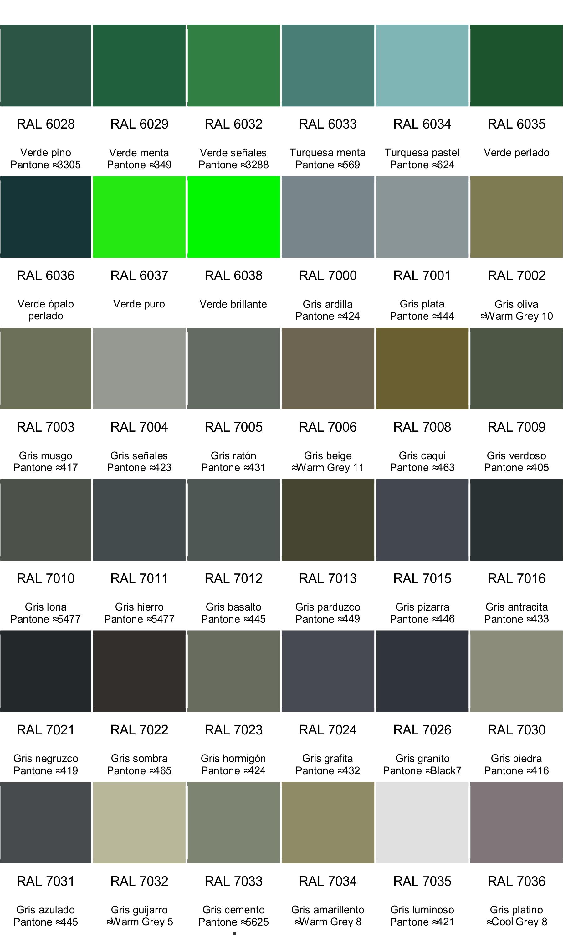 Colores ral pinar sa carta de colores ral en espa ol for Paleta de colores grises