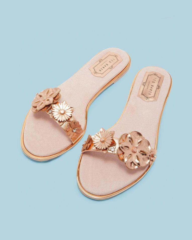 Floral Embellished Flat Sandals Rose Gold Shoes Ted Baker Footwear Design Women Rose Gold Shoes Designer Outfits Woman