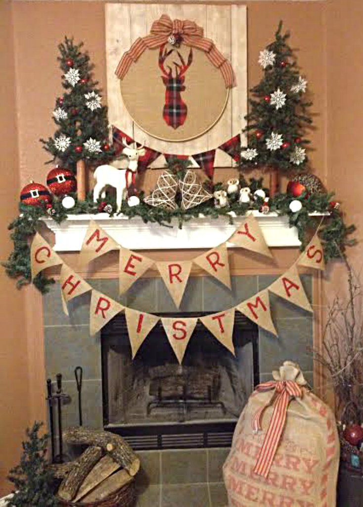 Merry christmas banner holiday decorating super easy and burlap merry christmas banner fire place christmas decordiy solutioingenieria Choice Image