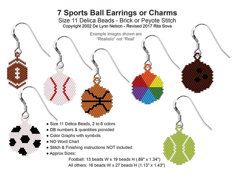Brick stitch earrings / charms pattern collection, sova enterprises.