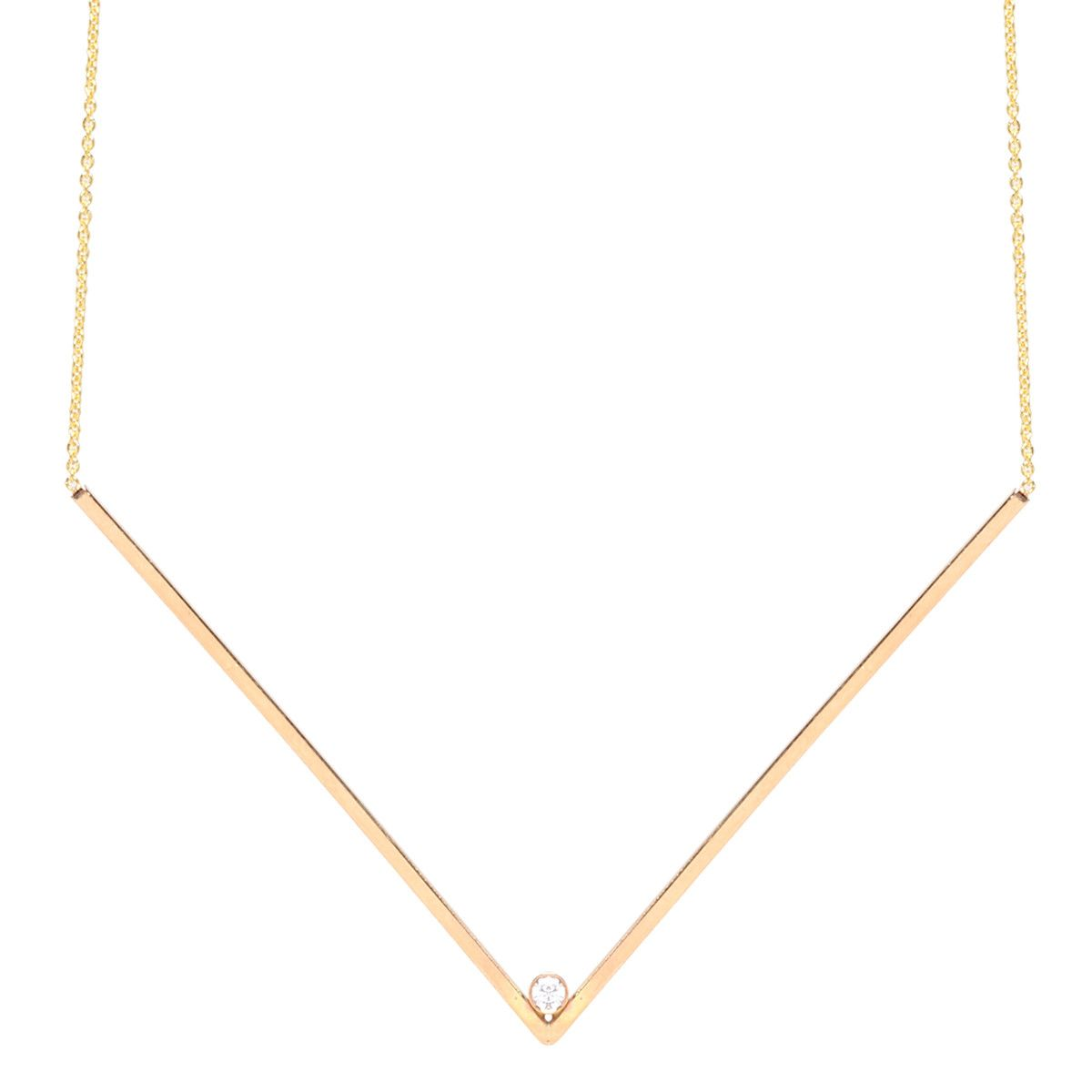 14k x-large diamond V necklace