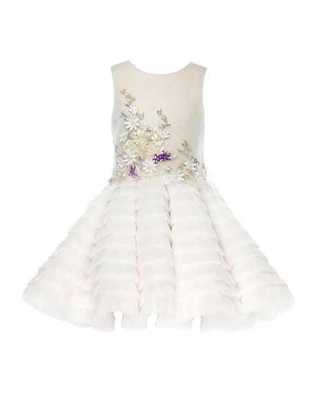 Pure BG Beauty Embroidered Lace Dress, White, Size 8-12