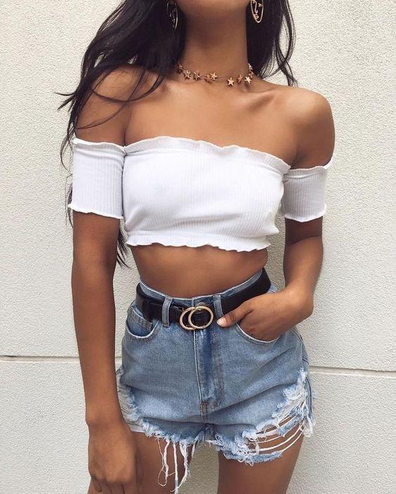 Cropped ombro a ombro branco | Looks, Roupas, Moda