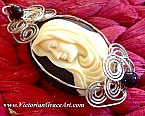 $99 Mother Mary Sterling Silver Wire Wrapped Cameo Pendant (Image1)