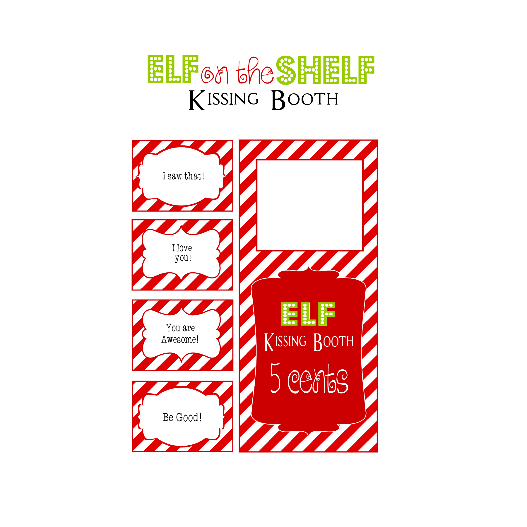 photograph regarding Elf on the Shelf Kissing Booth Free Printable known as Pin by means of atropea upon Guidelines Elf upon shelf printables, Kissing