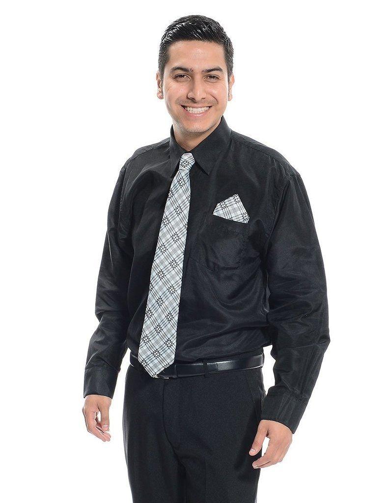 Men's Button down black long sleeve dress shirt Black