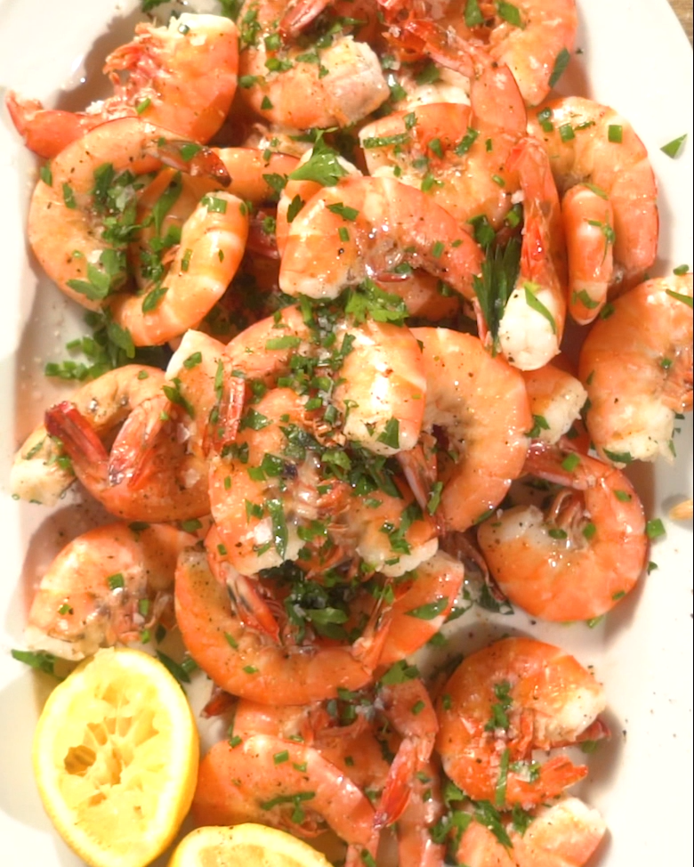 Peel and Eat Shrimp with Butter and Herbs #boiledshrimp