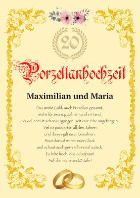 Porzellanhochzeit 20 jähriger Hochzeitstag