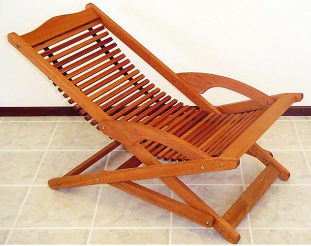 Wood Chair Swing Slat Folding Rocking Patio Chaise Lounge