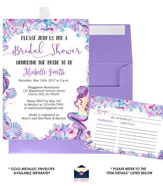 Mermaid bridal shower invitation and recipe card under the sea mermaid bridal shower invitation and recipe card under the sea bridal shower beach bridal shower invitation filmwisefo Images
