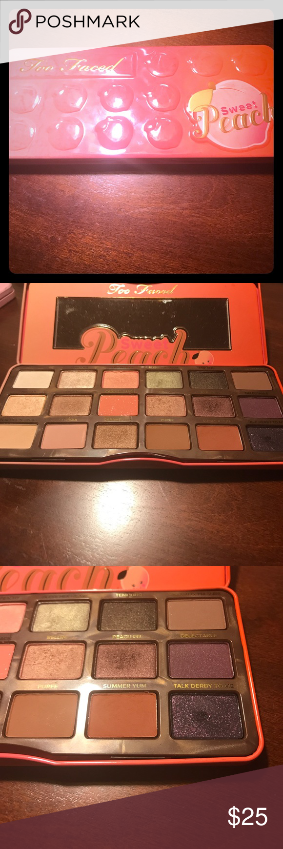 Too Faced Sweet Peach Palette 🍑 Beautiful EUC Sweet 🍑 Palette! Most colors have never been touched. Just less than 5 times! Too Faced Makeup Eyeshadow