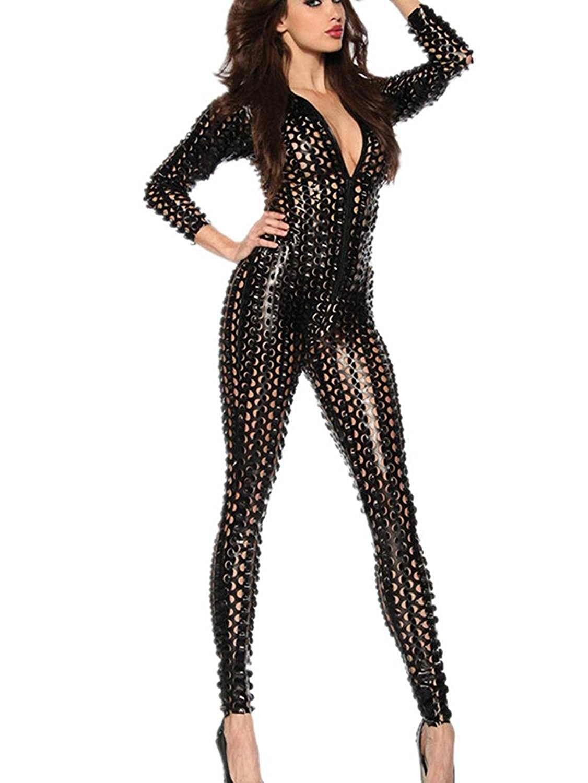 ccfa811d7d8eb Womens Jumpsuit Catsuit Romper Metallic Bodysuit Sexy Clubwear ...