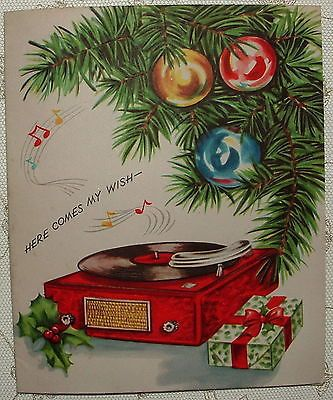 Record Player Greeting 1950 S Vintage Christmas Greeting Card Vintage Christmas Cards Vintage Christmas Greeting Cards Christmas Greetings