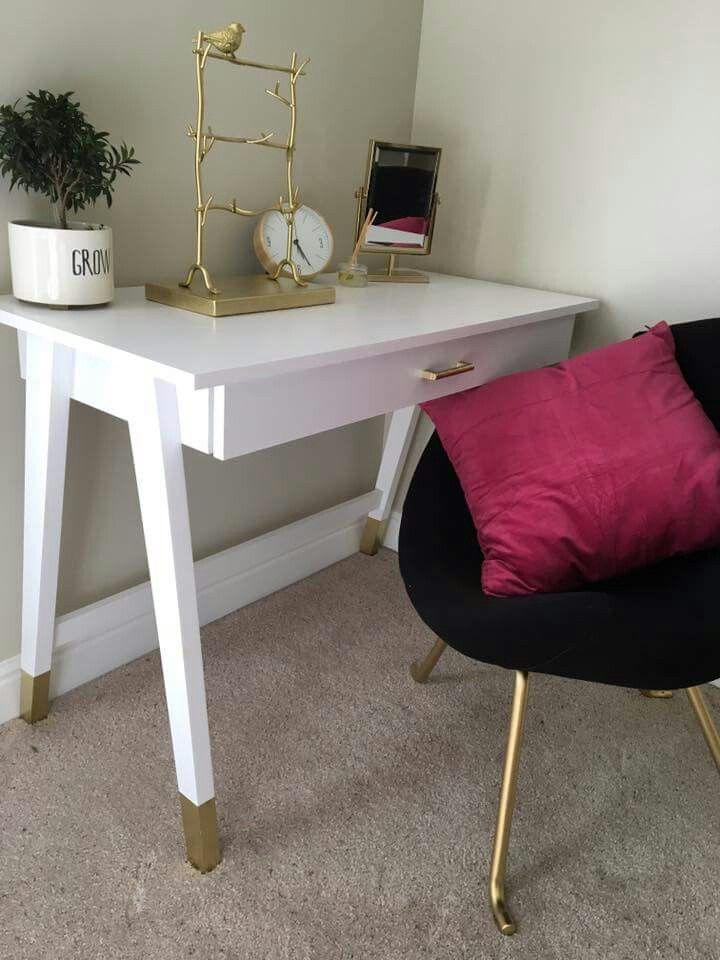 Cute Sleek And Classy White Small Desk With Gold Dipped Legs And