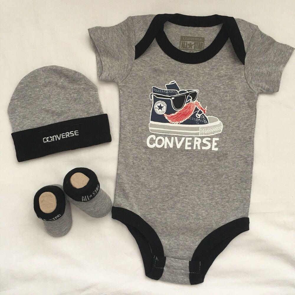 23fcf7ba04d4c 3 Piece Converse Baby Gift Set, Size 0-6 Mon. Chuck Taylor, Booties ...