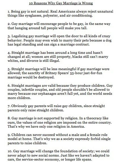 Words... 10 reasons gay marriage arent real what necessary