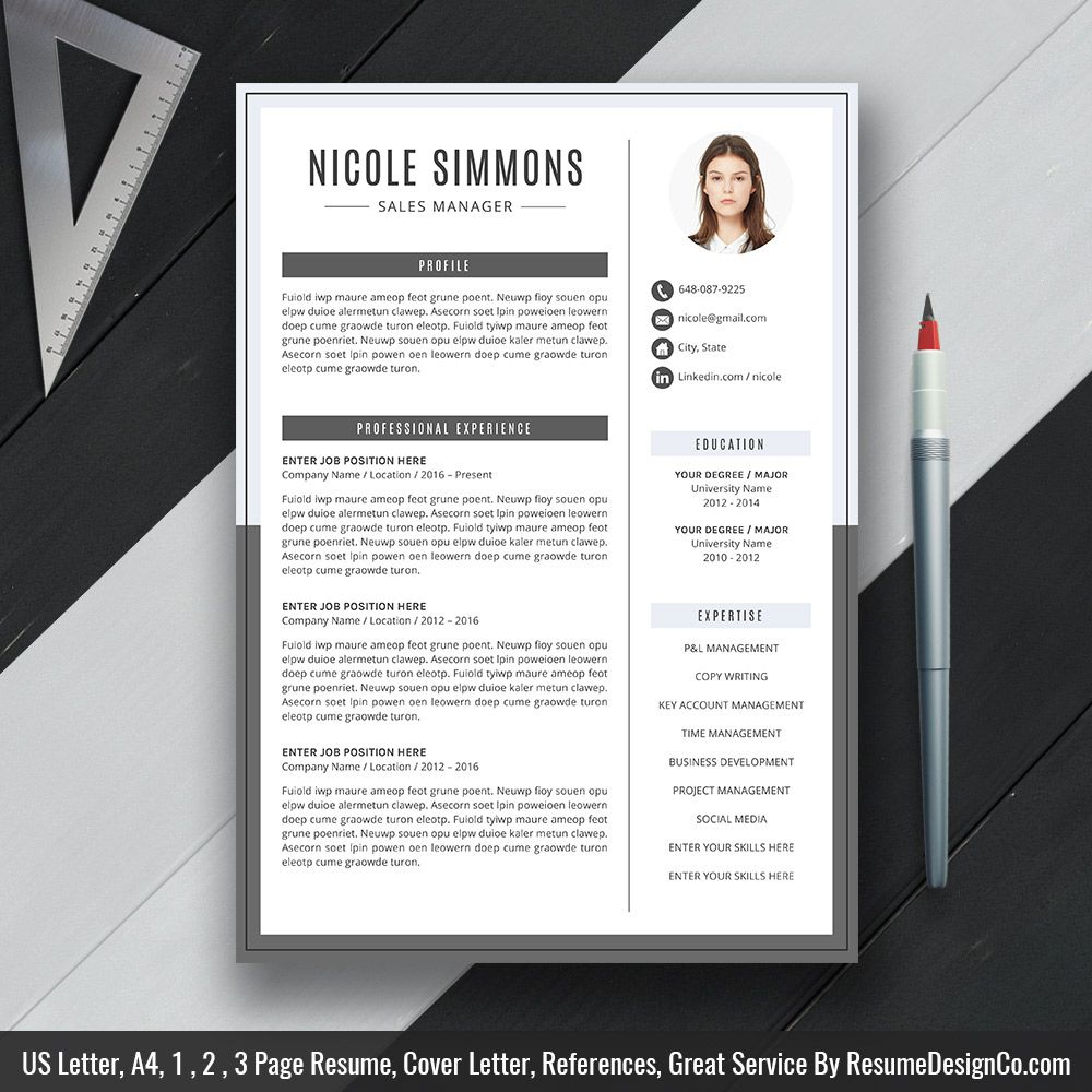 resume template 2019  professional cv template  2 page resume  cover letter  references  cv