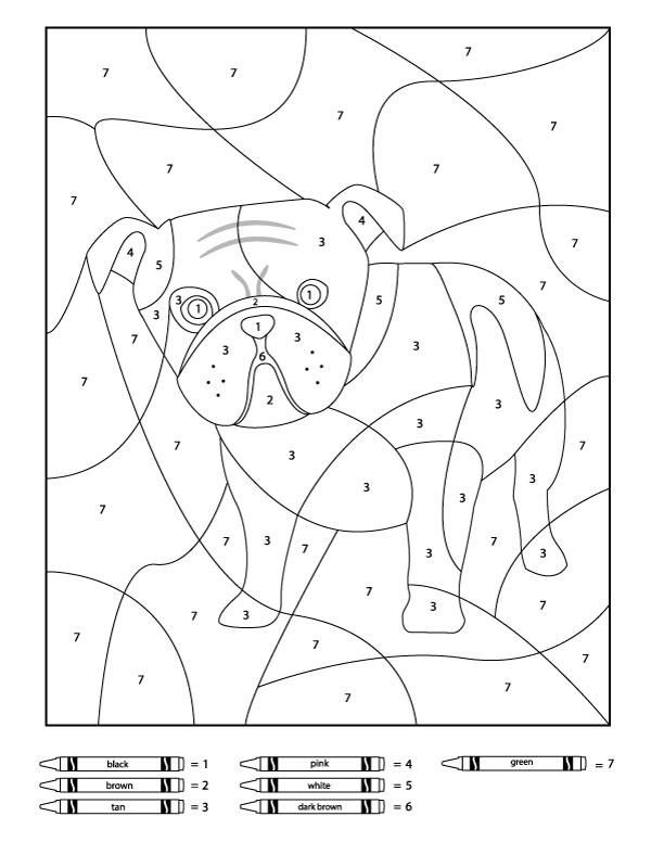Dog Color By Number Printables in 2020   Disney coloring ...