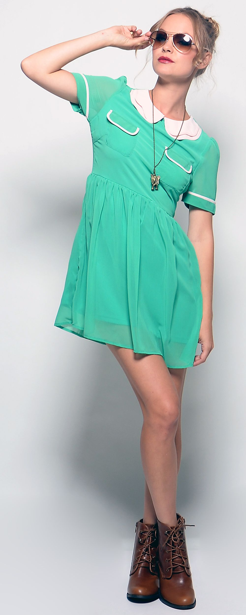 Petunia Pan Green Collared Dress......You can fly!