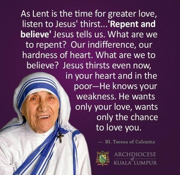 Mother Teresa Quotes On The Eucharist: Blessed Mother Teresa ~ Lent