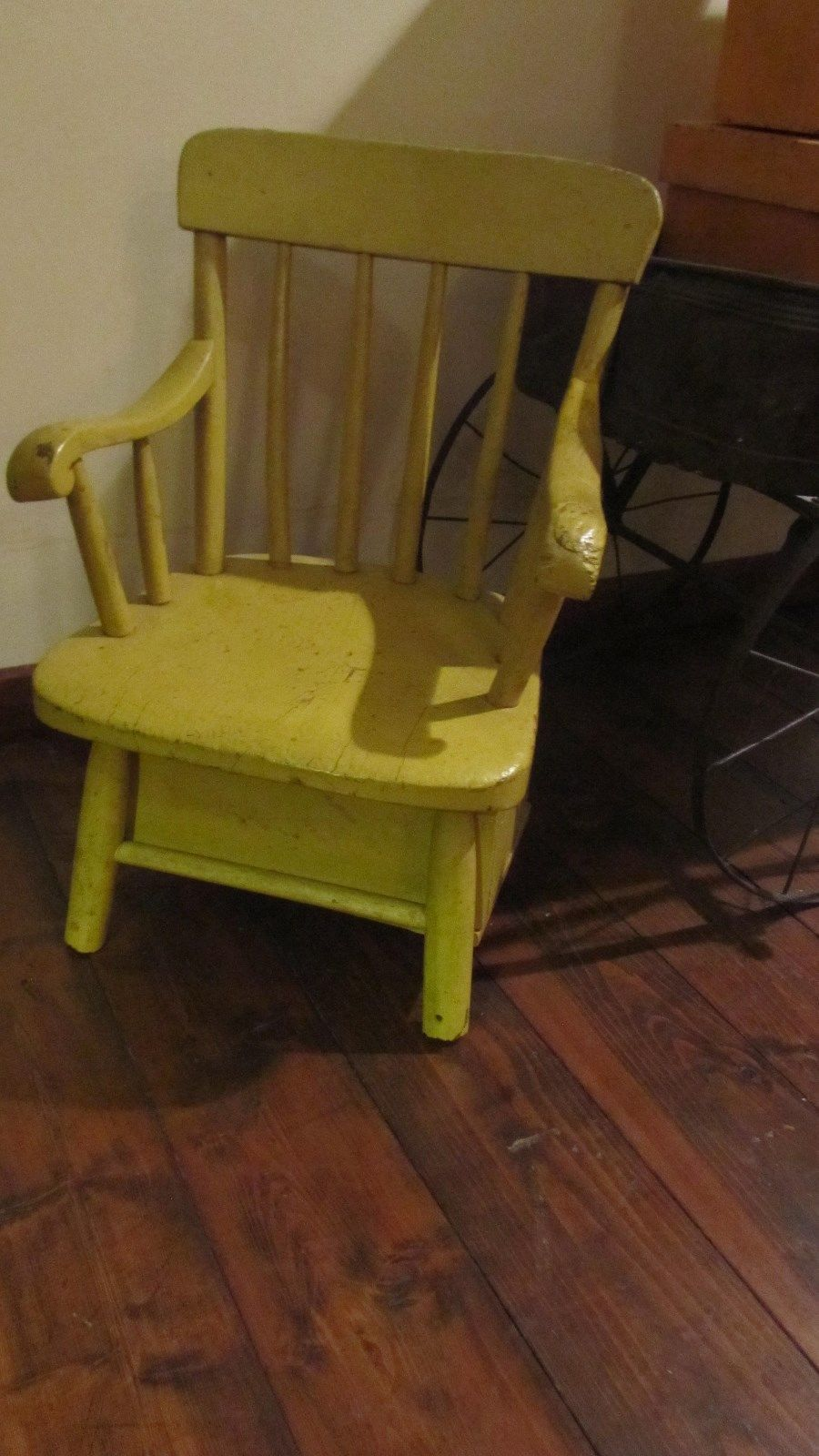 Antique Painted Child S Chair W Book