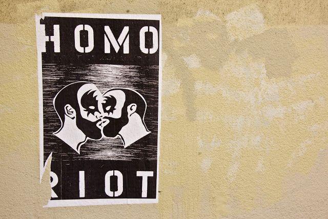 A Homo Riot poster on a wall near downtown Portland, Oregon.