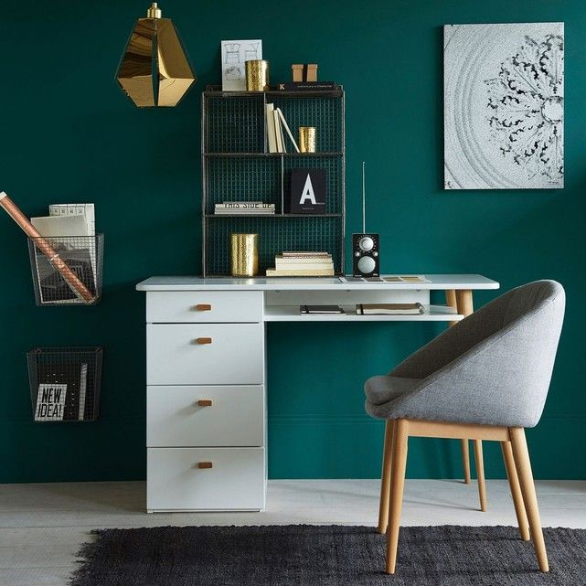 bureau 4 tiroirs jimi la redoute interieurs coin bureau cosy mur vert meraude coin bureau. Black Bedroom Furniture Sets. Home Design Ideas