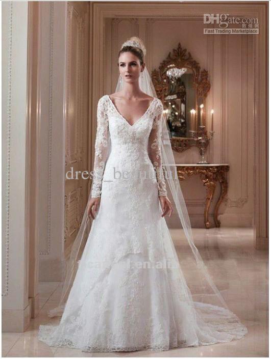 Whole Wedding Dress Long Sleeve Lace Y V Neck Open Back A
