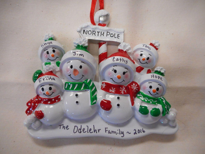 6 family snowmen ornamentnorth pole ornamentpersonalized
