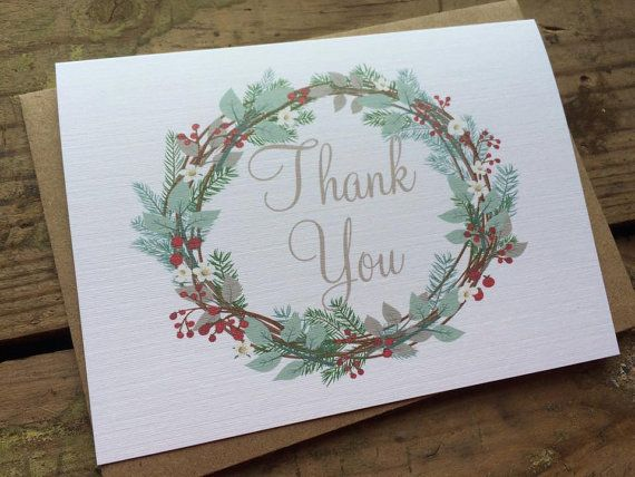 Christmas Wreath Thank You Cards By Pontomountainpaper Country