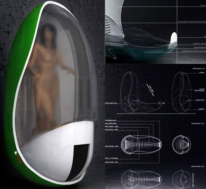 small tub shower units. Futuristic Tulip Bathtub And Shower Unit By Piotr Pyrtek