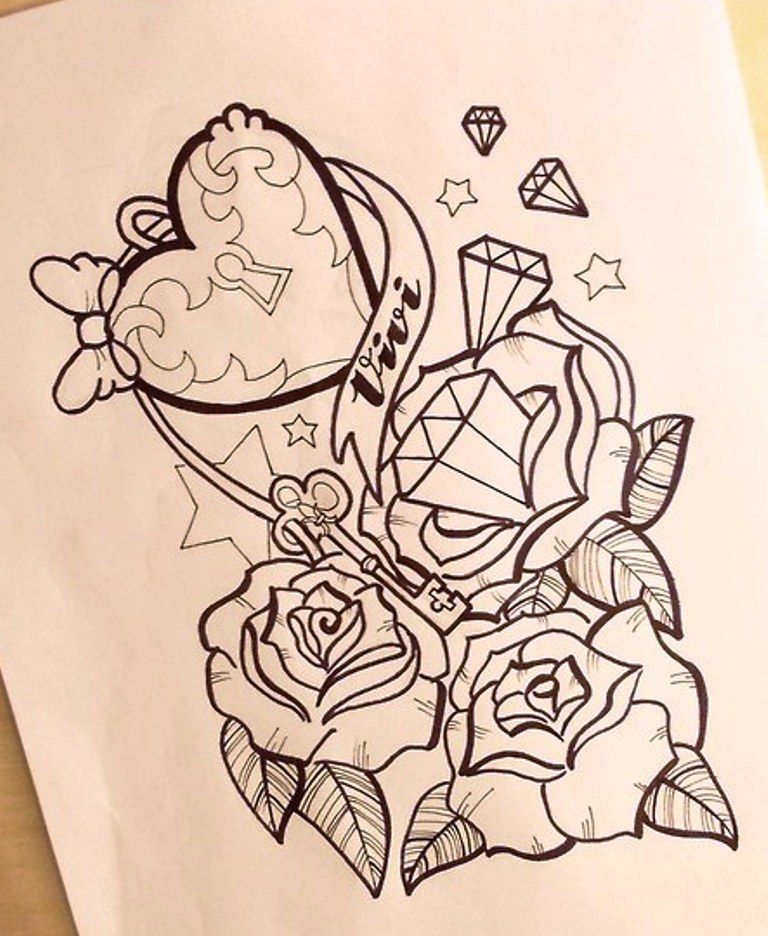 Girly Anchor Tattoo Drawings