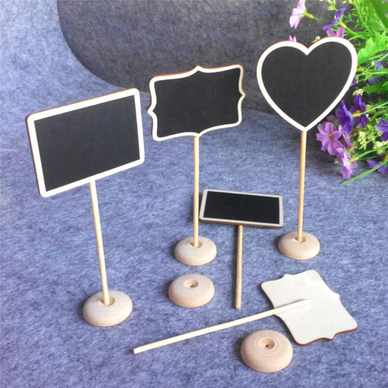 12pcs Lot Wedding Decoration Mini Chalkboard Blackboard Seat Stand Wedding Lolly Heart Retangle Pattern Party Tags Mini Chalkboards Wedding Party Table Decorations Wooden Place Card Holders