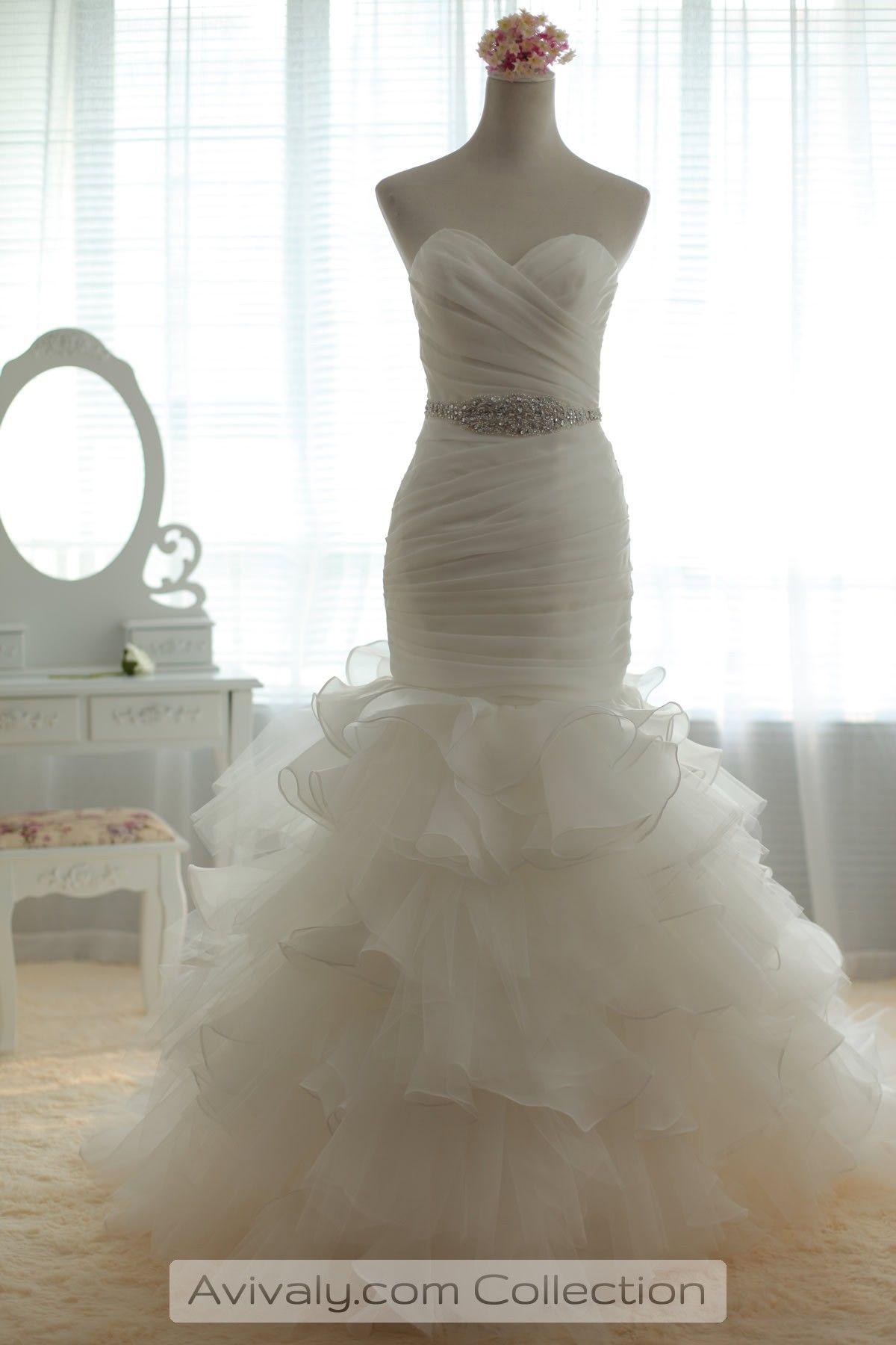 Sweetheart Fit Flare Multi Tiered Skirt Bridal Dress Wedding Dress Organza Wedding Dresses Strapless Mermaid Wedding Dress [ 1800 x 1200 Pixel ]
