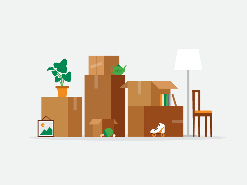 Yard Sale Bunny Wall Art Moving Boxes House Illustration