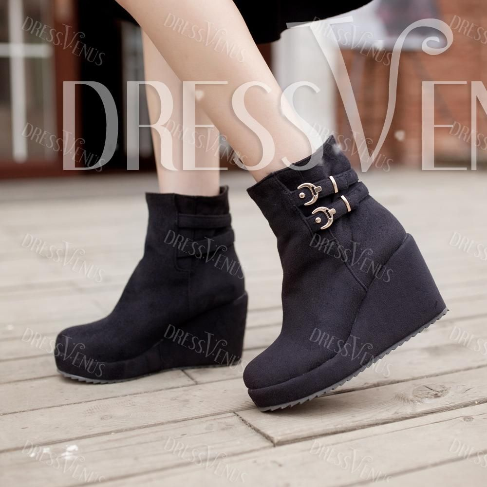 US$41.99 Chic PU Wedge All-matched Boots. #Ankle #All-matched #PU #Chic