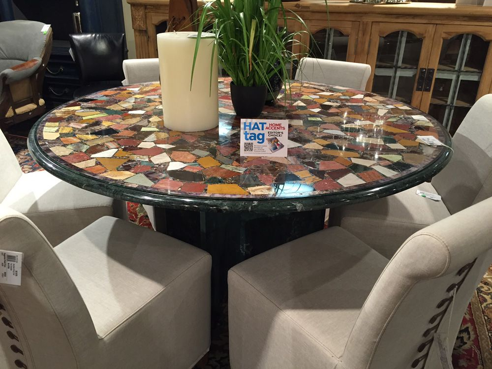 The Mosaic Round Dining Table Is A Stunning Blend Of Inlaid Stone