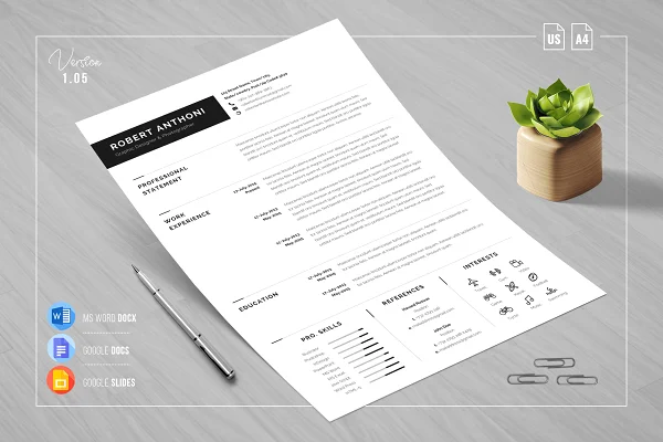 Search Creative Market In 2020 Clean Resume One Page Resume Resume Cv