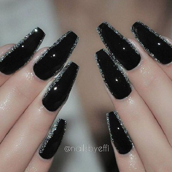 Black Glittered Coffin Nail Art Design Black And Silver Glitter Is Love This Is Extremely Unique When D Silver Nail Designs Coffin Nails Designs Trendy Nails