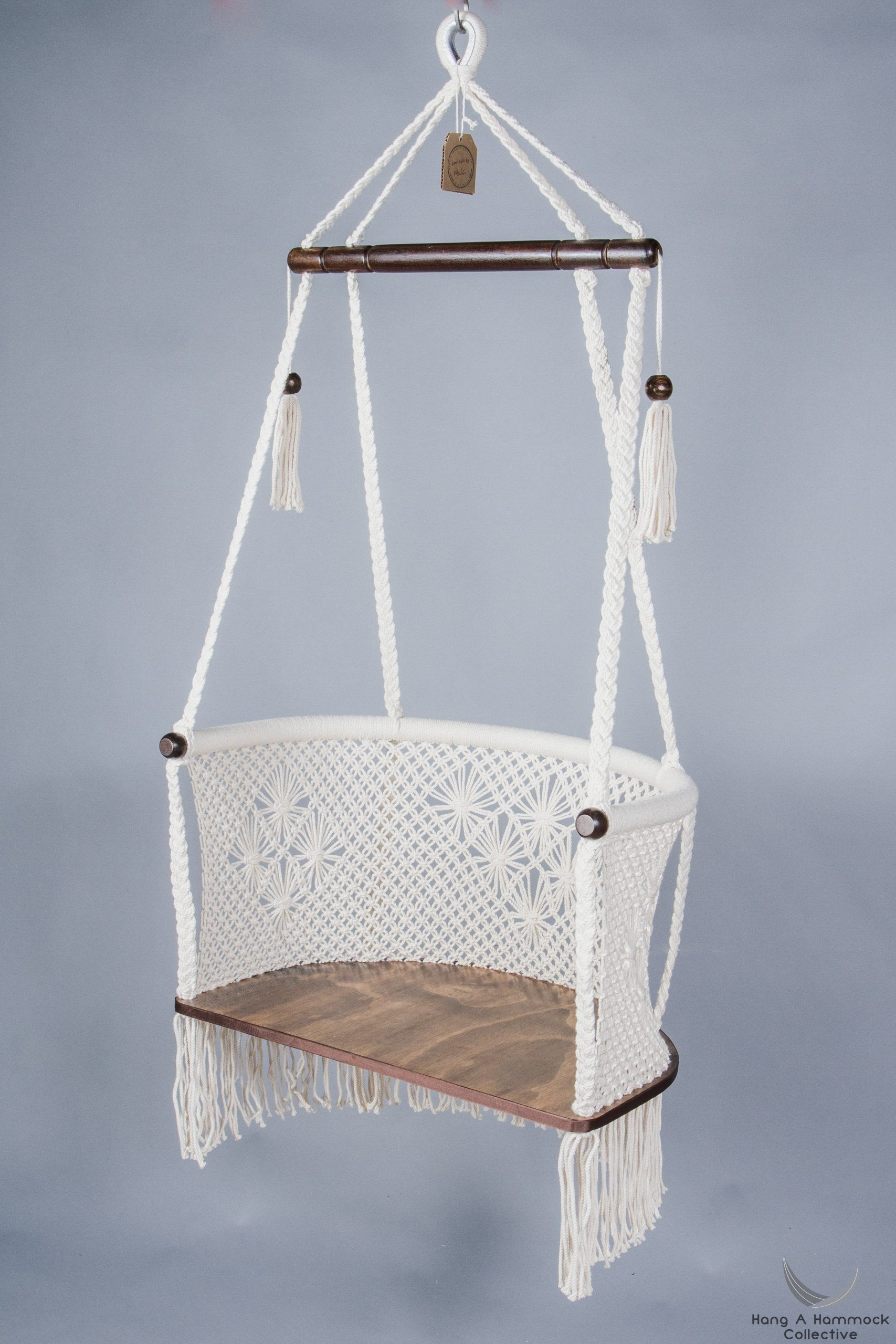 Macrame hanging chair in cream dark wood comfy chair pinterest