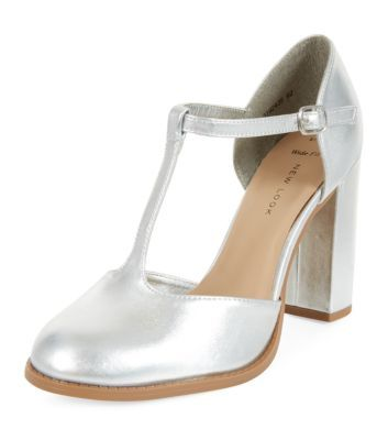 ea3df0e72b1fe ... New Look. Wide Fit Silver T-Bar Block Heels
