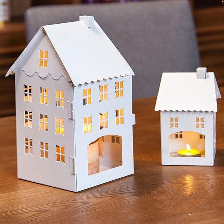 Zakka Iron Small House Candle Holders 1pc Creative Gift Europe Style Retro Wedding Decoration Small Size Free Shipping Avec Images Bougeoirs Decoration Maison