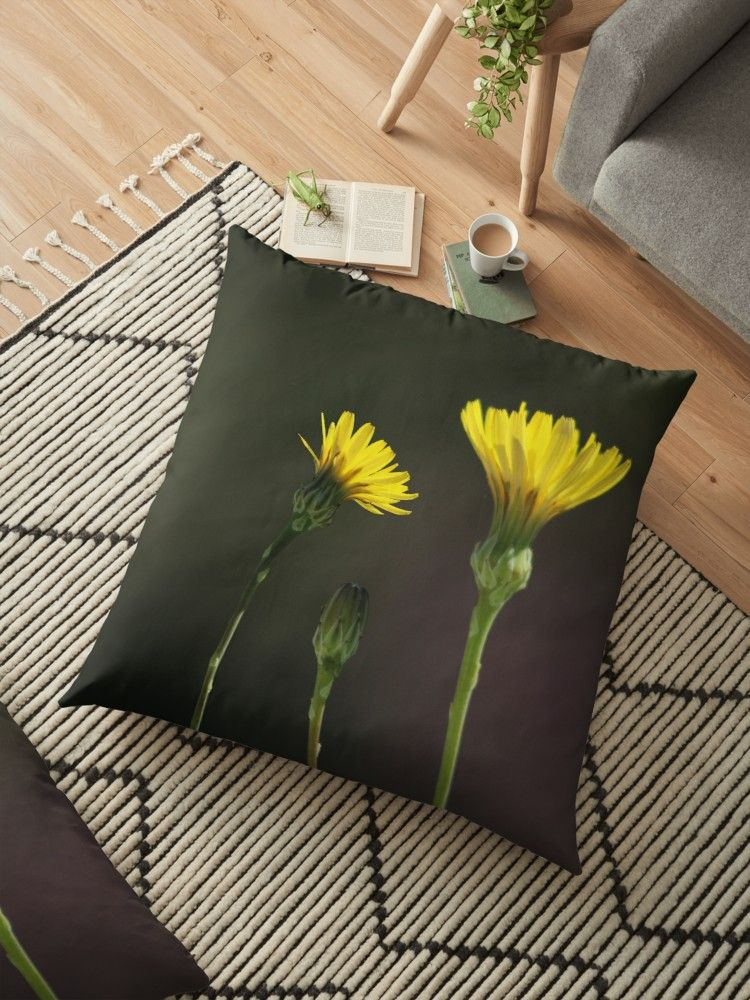 Dandelion Family Dandelions Flowers Wildflowers Yellow Flowers Blooms Blossoms Floral Bouquet Garden Spring Floor Pillows Pillows Yellow Wildflowers