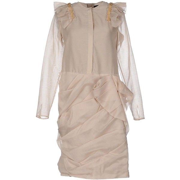 Burberry Prorsum Short Dress ($1,050) ❤ liked on Polyvore featuring dresses, khaki, brown long sleeve dress, silk mini dress, longsleeve dress, burberry and brown dress