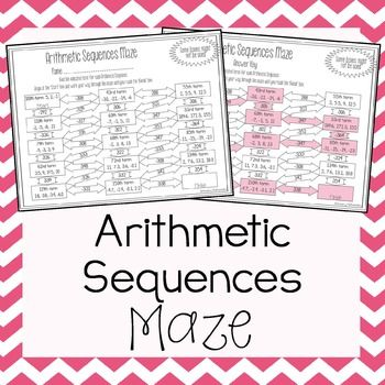 Arithmetic Sequences Maze Arithmetic, Maze and Worksheets - arithmetic sequence example