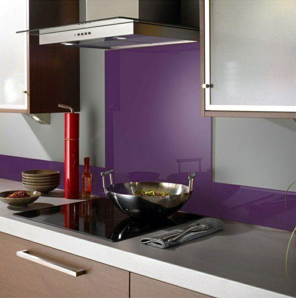 küchenrückwand spritzschutz küche glaswand lila Küche - küchen fliesenspiegel glas