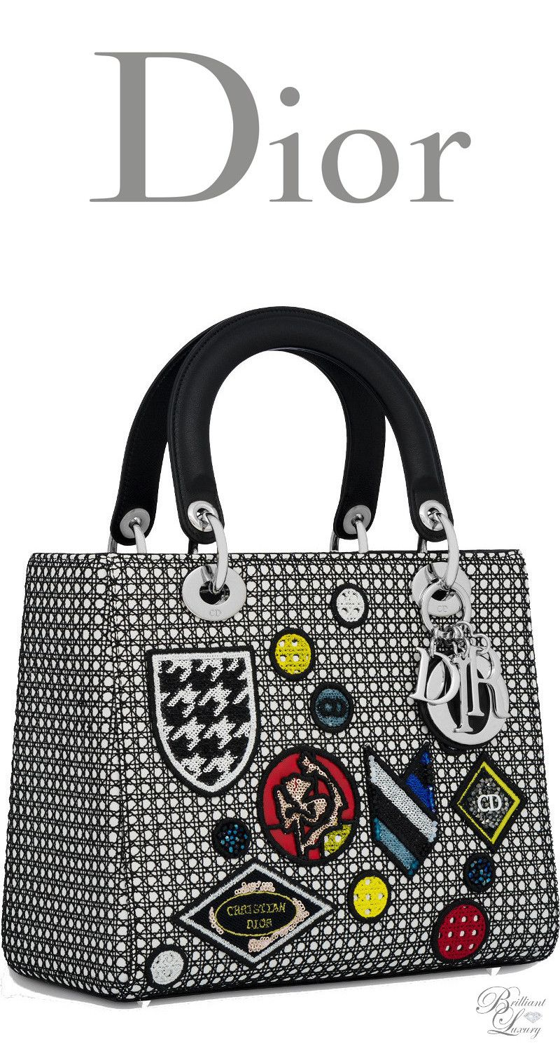 Brilliant Luxury   Dior Summer 2016 ~ Lady Dior bag in white Cannage  lambskin with black mesh and badges eb063f00ee1e5