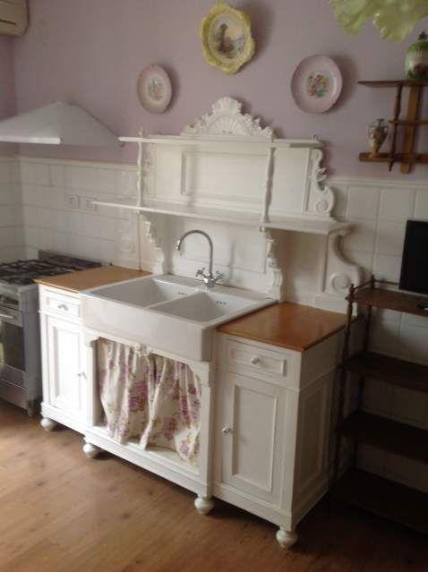 Acquaio lavello da cucina struttura in legno \'800 e ceramica ...