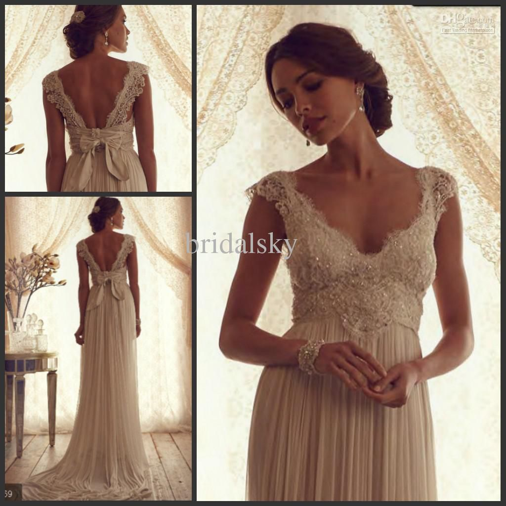e5880e2561 Lace Beads Pleat Sash Empire Waist V Neck Cap Sleeves Column Sweep ...